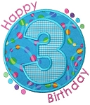 Birthday Numbers Circle Patch Set Applique