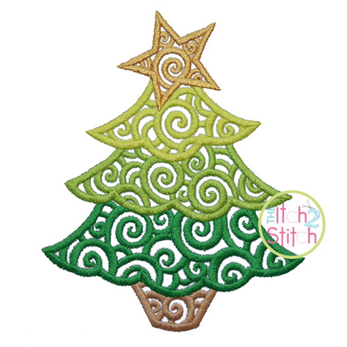 Scroll Christmas Tree Embroidery