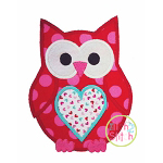 Valentine Owl Heart Applique