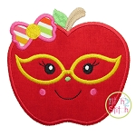Apple Glasses Girl Applique