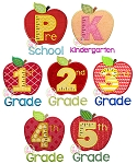 Apple School Grade Number Set Applique