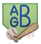 Baseball Diamond Bat Monogram Applique