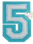 Raggy Double Varsity Applique Numbers Font