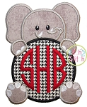 Elephant Mascot Monogram Peeker Applique