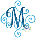 Elegant Scroll Two Color Large Monogram