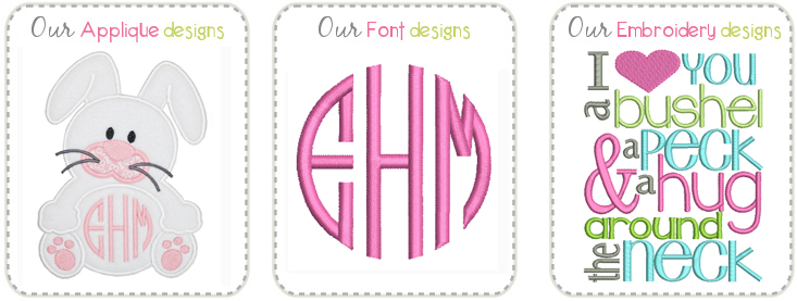 Applique, Embroidery, Fonts