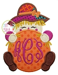 Scarecrow Girl Peeker Applique
