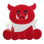 Sitting Hog Mascot Applique