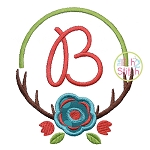 Antler Flower Frame Applique