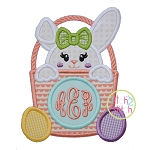 Bunny Basket Monogram Girl Applique