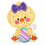 Chick Girl Holding Egg Applique