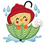 Chick In Umbrella Applique