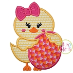 Chick Holding Egg Girl Applique