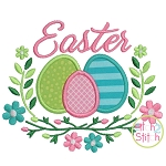 Easter Floral with Eggs Applique