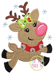 Flying Reindeer Girl Applique
