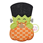 Frankenstein Pumpkin Peeker Applique