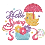 Hello Spring Bird Applique