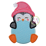 Penguin Peeker Girl Applique
