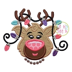 Reindeer Head Lights Girl Applique