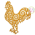 Scroll Rooster Embroidery