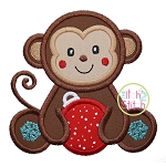 Sitting Christmas Monkey Applique