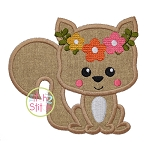 Sitting Squirrel Flowers Applique