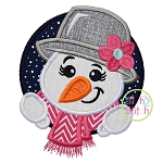 SnowGirl Circle Applique