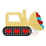 Valentine Bulldozer Applique
