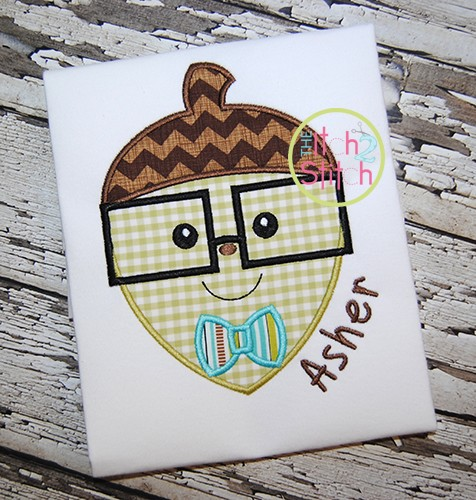 Acorn Glasses Boy Applique