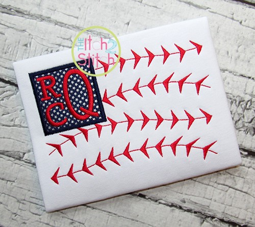 Baseball Flag Monogram Applique
