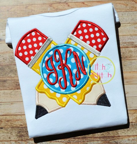 Crossed Pencil Monogram Applique