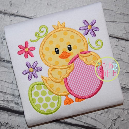 Easter Chick Eggs Applique
