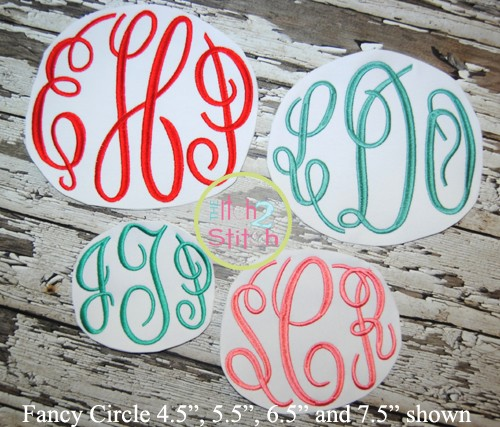 Fancy Circle Monogram LARGE size