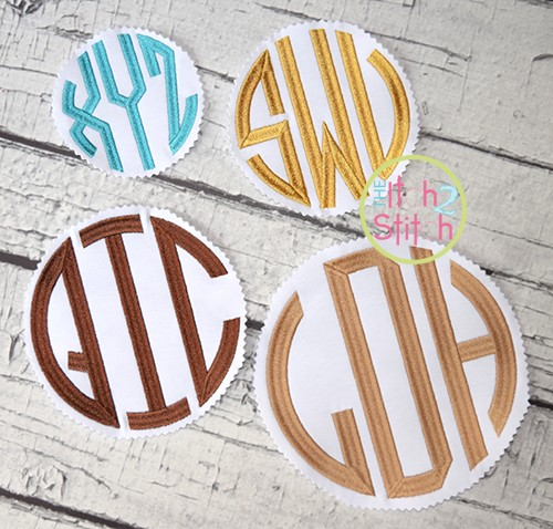 Natural Circle Large Monogram Embroidery Font
