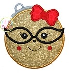 Ornament Girl Glasses Applique
