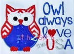 Owl Always Love the USA Applique