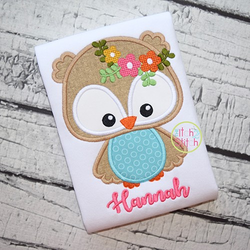 Owl Flowers Applique