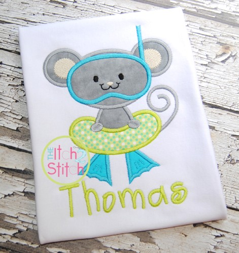 Swimming Mouse Applique