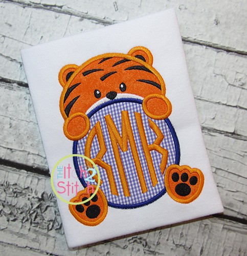 Tiger Mascot Monogram Peeker Applique