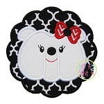 Bulldog Face Scallop Girl Applique