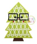 Christmas Tree Glasses Boy Applique