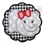 Elephant Face Scallop Girl Applique