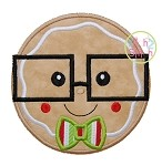 Gingerbread Glasses Boy Applique