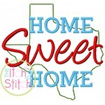Home Sweet Home Texas Embroidery