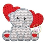 Sitting Elephant Hearts Applique