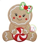 Sitting Gingerbread Girl Applique