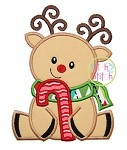 Sitting Reindeer Candy Cane Applique
