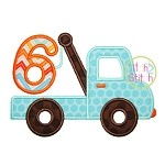 Tow Truck Number 6 Applique