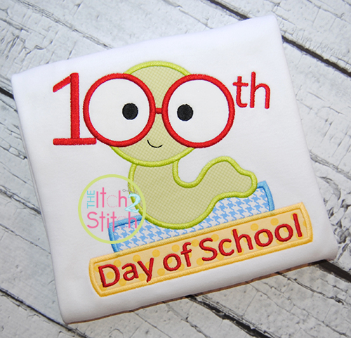 100th day bookworm applique for 100th day of school decoration ideas