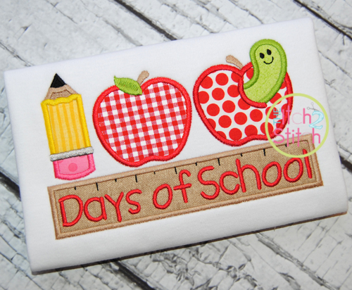 100 days of school applique the itch 2 stitch for 100th day of school decoration ideas